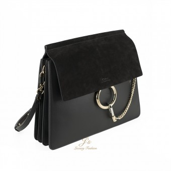 CHLOÉ FAYE LEATHER AND SUEDE SHOULDER BAG IN BLACK