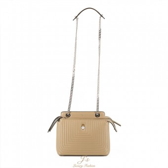 FENDI Small DOTCOM CLICK leather shoulder bag in Sand