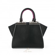 FENDI 3JOURS MINI LEATHER TOTE IN BLACK PALLADIUM