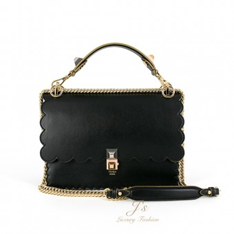 FENDI KAN I LARGE LEATHER SHOULDER BAG IN BLACK