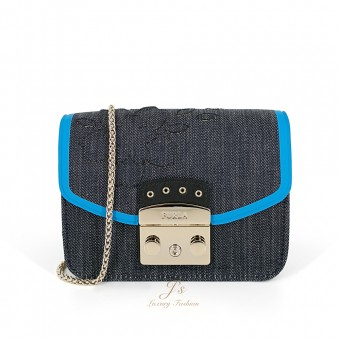 FURLA Metropolis Mini Crossbody Bag in Blue Denim