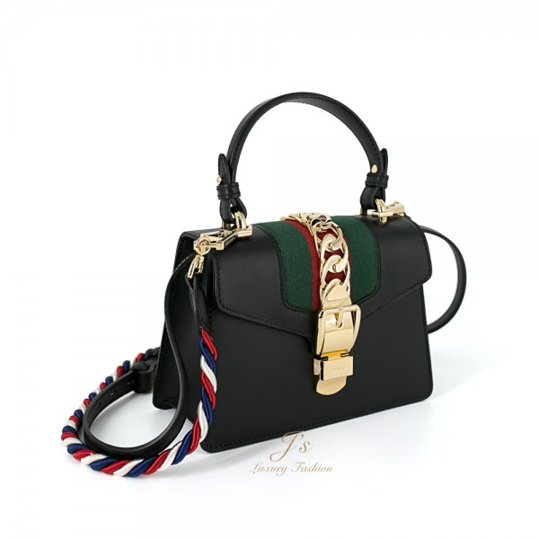 GUCCI SYLVIE MINI LEATHER CROSSBODY BAG IN BLACK (With 2 shoulder straps)