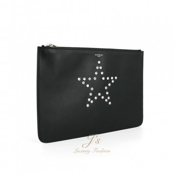 GIVENCHY LEATHER DOCUMENT CASE WITH STAR LOGO IN BLACK