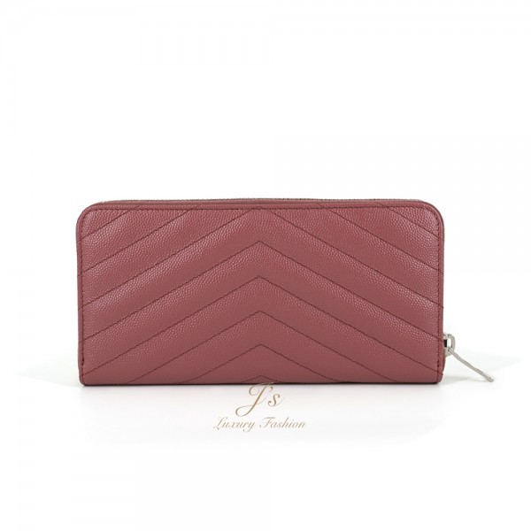 SAINT LAURENT Classic zip around wallet with central silver-toned metal interlocking YSL signature in Mystic Rose