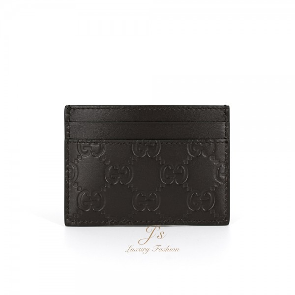 GUCCI Signature Leather Card Case in Brown