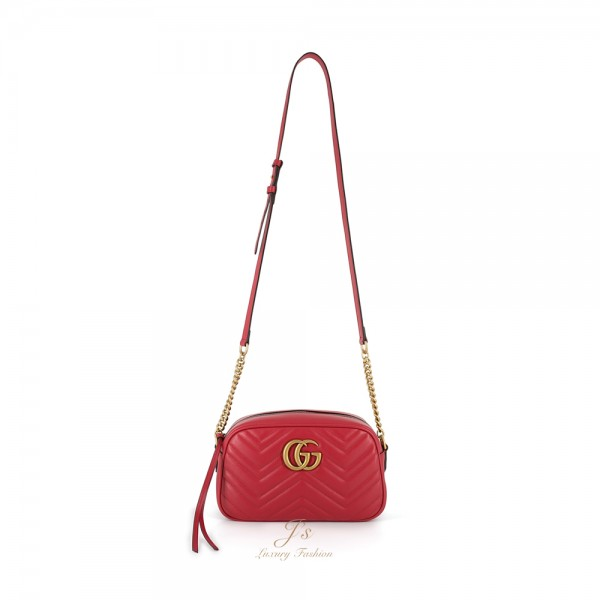GUCCI GG MARMONT SMALL LEATHER CROSSBODY BAG IN RED