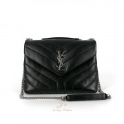 SAINT LAURENT SMALL LOULOU CHAIN BAG IN BLACK WITH SILVER-TONED HARDWARE