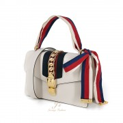 GUCCI SYLVIE SMALL LEATHER SHOULDER BAG IN WHITE (With 2 shoulder straps)