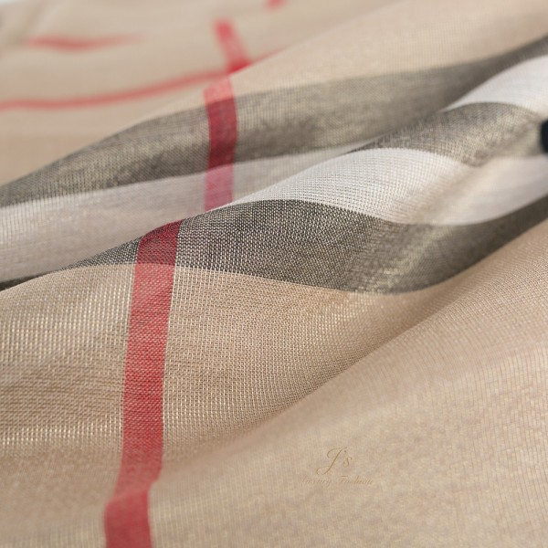 BURBERRY Metallic Check Silk and Wool Scarf in Camel/Gold