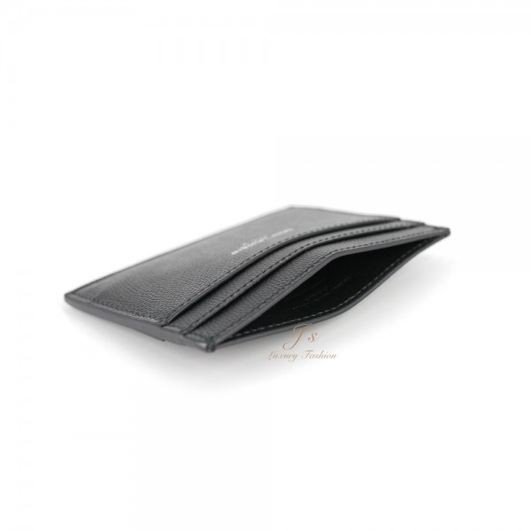 SAINT LAURENT LEATHER CARD CASE IN BLACK GRAINED CALFSKIN LEATHER