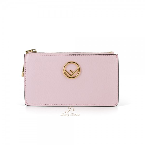 FENDI F LEATHER CARD POUCH IN PINK