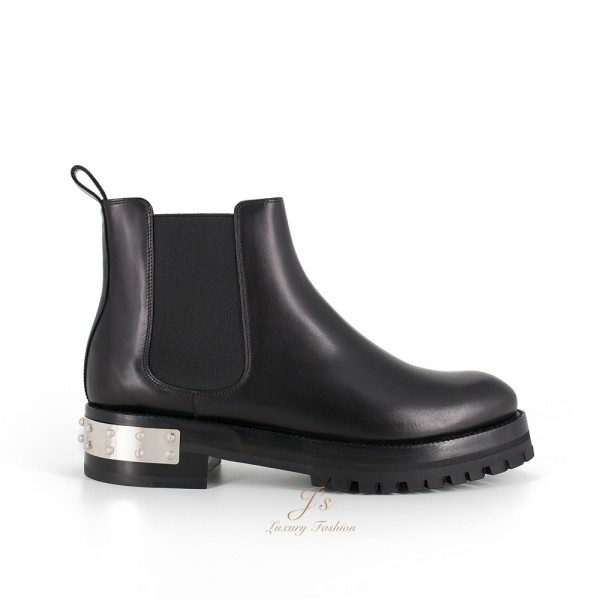 ALEXANDER MCQUEEN LEATHER MOD BOOTS IN BLACK
