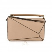 LOEWE PUZZLE MEDIUM BAG IN SAND/MINK GRAINED CALFSKIN