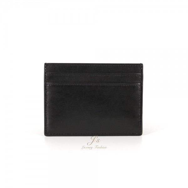 SAINT LAURENT LEATHER CARD CASE IN BLACK SMOOTH CALFSKIN LEATHER