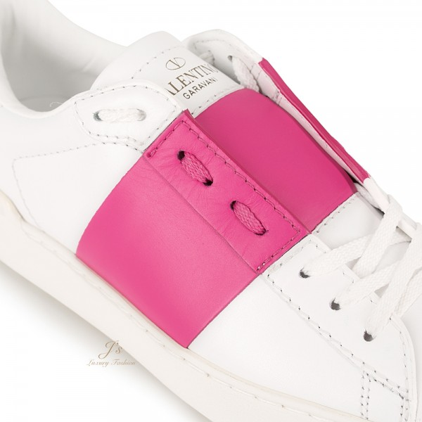 VALENTINO GARAVANI OPEN SNEAKER IN WHITE CALFSKIN LEATHER IN PINK (DUM BIANCO)/WHITE