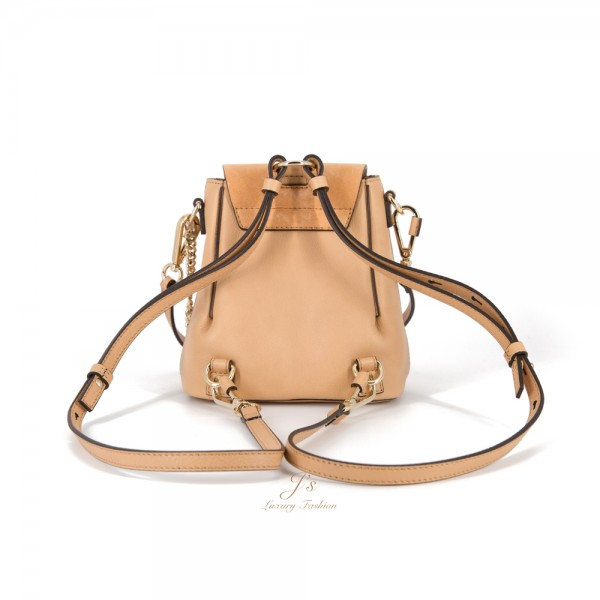 CHLOÉ FAYE MINI LEATHER AND SUEDE BACKPACK/SHOULDER BAG IN BLUSH NUDE