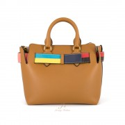 BURBERRY THE SMALL LEATHER COLOUR BLOCK DETAIL BELT BAG IN COGNAC