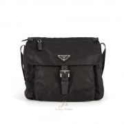 PRADA FABRIC CROSSBODY BAG IN BLACK