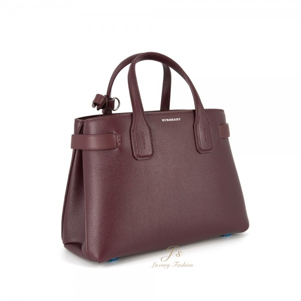 BURBERRY THE SMALL BANNER IN LEATHER AND VINTAGE CHECK IN MAHOGANY RED
