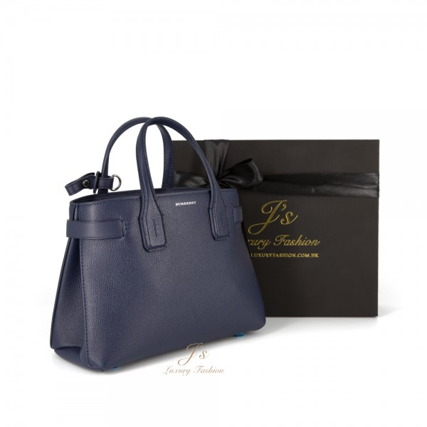 BURBERRY THE SMALL BANNER IN LEATHER AND VINTAGE CHECK IN REGENCY BLUE