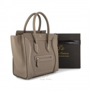 CELINE MICRO LUGGAGE HANDBAG IN SOURIS GRAINED CALFSKIN (NEW LOGO)