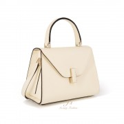 VALEXTRA ISIDE MINI LEATHER SHOULDER BAG IN WHITE