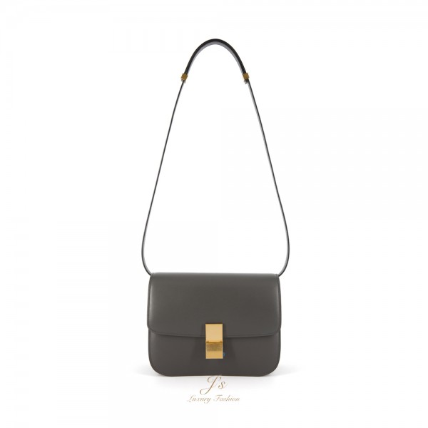 CELINE Medium CLASSIC BOX Shoulder Bag in Anthracite Calfskin (WITH VIP PRICE) (NEW LOGO)