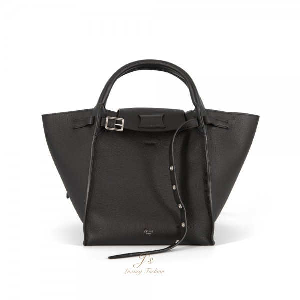 CELINE SMALL BIG BAG WITH LONG STRAP IN BLACK SUPPLE GRAINED CALFSKIN (CROSS-BODY AND HAND CARRY) (OLD LOGO)
