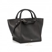 CELINE SMALL BIG BAG WITH LONG STRAP IN BLACK SMOOTH CALFSKIN (NEW LOGO) (CROSS-BODY AND HAND CARRY)