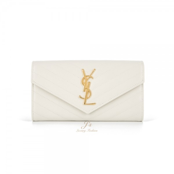 SAINT LAURENT LARGE FLAP WALLET IN CREMA SOFT