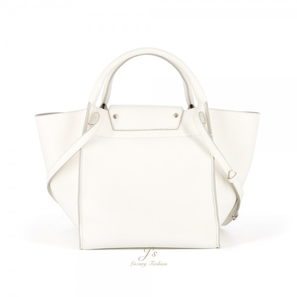 CELINE SMALL BIG BAG WITH LONG STRAP IN WHITE SUPPLE GRAINED CALFSKIN (CROSS-BODY AND HAND CARRY) (NEW LOGO)