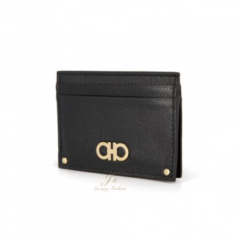 SALVATORE FERRAGAMO CARD CASE IN BLACK