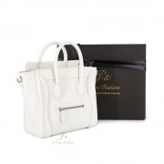 CELINE NANO LUGGAGE SHOULDER BAG IN WHITE BABY GRAINED CALFSKIN (NEW LOGO)