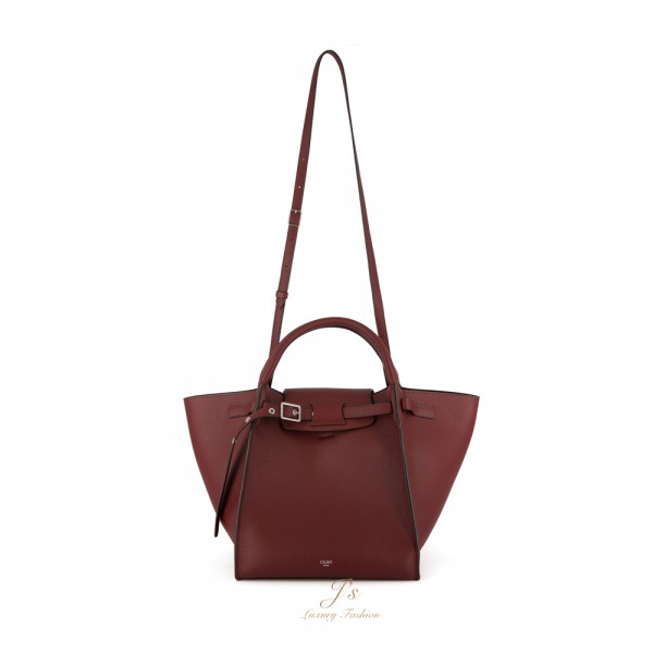 CELINE SMALL BIG BAG WITH LONG STRAP IN LIGHT BURGUNDY SUPPLE GRAINED CALFSKIN (CROSS-BODY AND HAND CARRY) (NEW LOGO)