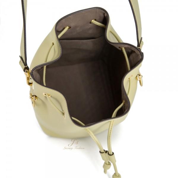 FENDI MON TRESOR SMALL BUCKET LEATHER BAG IN MANDORLO (GREEN)