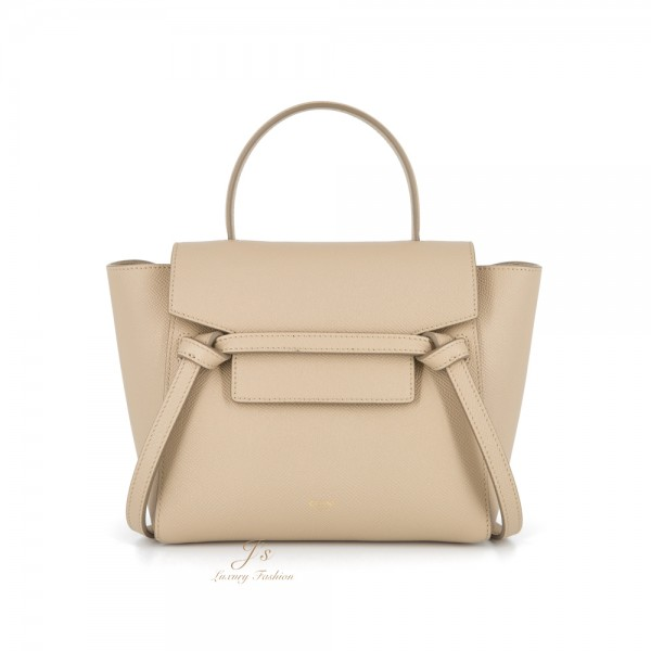 CELINE NANO BELT HANDBAG IN LIGHT TAUPE GRAINED CALFSKIN (NEW LOGO)
