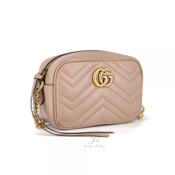 GUCCI GG MARMONT MINI LEATHER CROSSBODY BAG IN DUSTY PINK