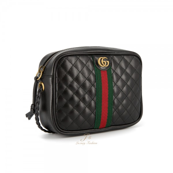 GUCCI MINI LEATHER SHOULDER BAG IN BLACK
