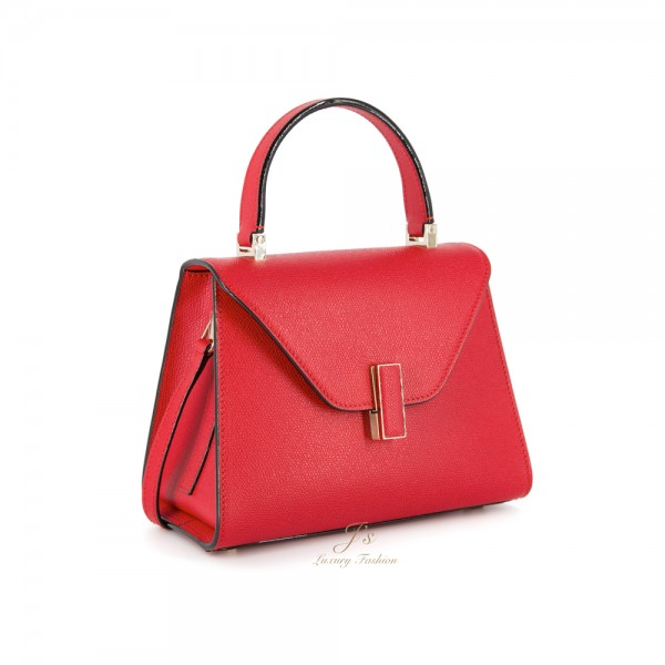 VALEXTRA ISIDE MINI LEATHER SHOULDER BAG IN RED