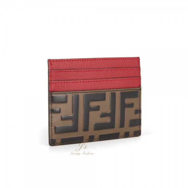 FENDI LEATHER CARD CASE IN RED/BROWN