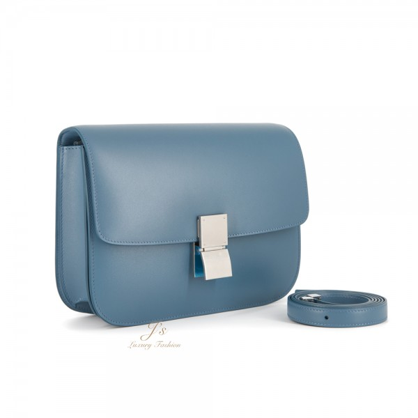 CELINE Medium CLASSIC BOX Shoulder Bag in Slate Blue (WITH VIP PRICE) (NEW LOGO)