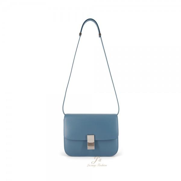 CELINE Medium CLASSIC BOX Shoulder Bag in Slate Blue (WITH VIP PRICE) (NEW LOGO)