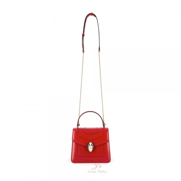 BVLGARI SERPENTI FOREVER Small Flap Cover Bag in Ruby Red