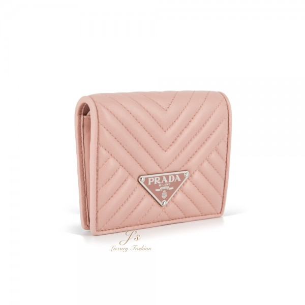 PRADA SMALL LEATHER WALLET IN ORCHIDEA (PINK)