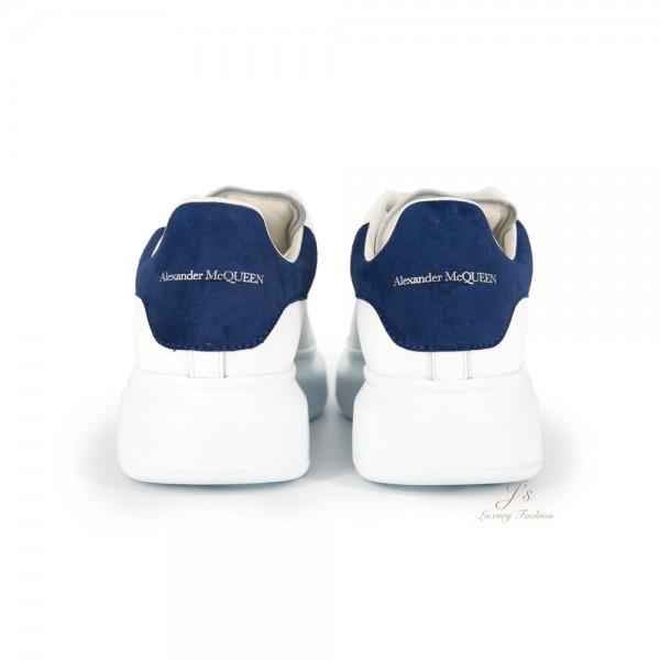 ALEXANDER MCQUEEN 45MM LEATHER PLATFORM SNEAKERS IN WHITE/PARIS BLUE (NEW LOGO)