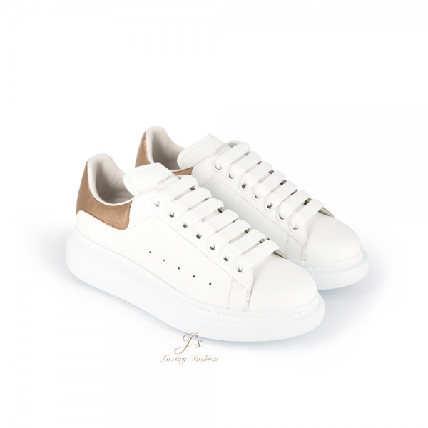 ALEXANDER MCQUEEN 45MM LEATHER PLATFORM SNEAKERS IN WHITE/ROSE GOLD (NEW LOGO)
