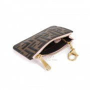 FENDI LEATHER KEYRING POUCH IN PINK/BROWN
