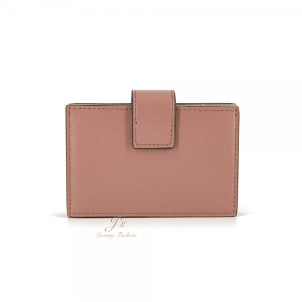 FENDI DOTCOM LEATHER GUSSETED CARD HOLDER IN PINK