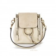 CHLOÉ FAYE MINI LEATHER AND SUEDE BACKPACK/SHOULDER BAG IN NATURAL WHITE
