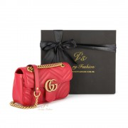 GUCCI GG MARMONT MINI LEATHER SHOULDER BAG IN RED